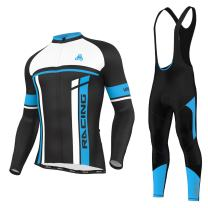 Men's Urban Cycling Team Thermal Winter Fleece Jersey, Bib Tights, and Winter Cycling Set Bundle, Long Sleeve