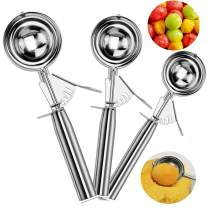 Ice Cream Scoop Set of 3 - Cookie Scoop Set with Trigger - Large Medium Small Excellent Stainless Steel Ice Cream Scooper, Muffin Scoop/Melon Baller/Potato Mashers for Kids and Families, Elegant Packa