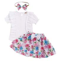 Toddler Baby Girls Floral Skirts Set Short Sleeve Ruffle Linen Tops Floral Dress Outfits