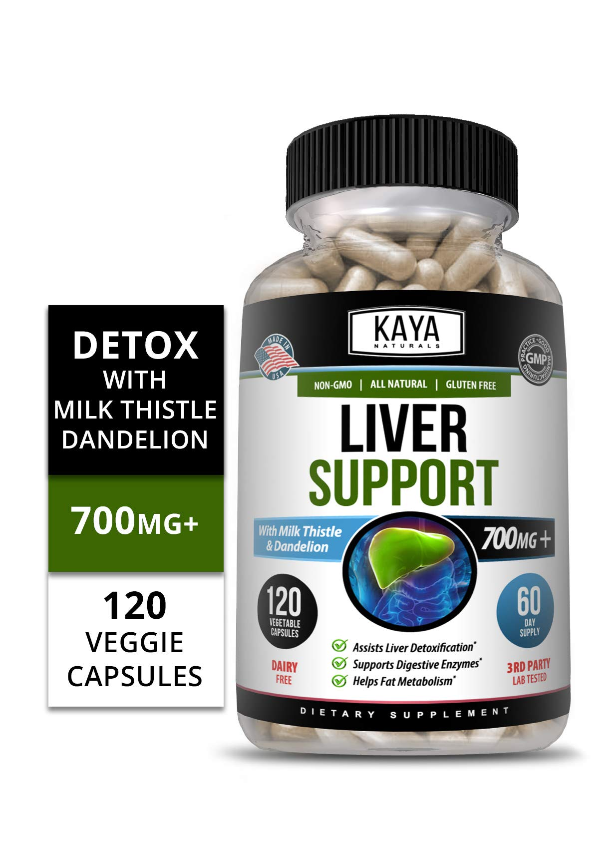 Kaya Naturals Liver Support Vegetarian Capsules, 120 Count, Cleanse, Detox & Repair Formula with 22 Herbs Including MilkThistle Extracts, Beet, Artichoke, Dandelion, Chicory Root (120 Capsules)