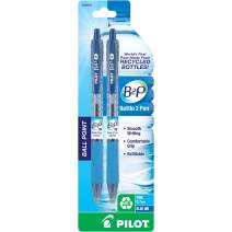 PILOT B2P - Bottle to Pen Refillable & Retractable Ball Point Pen Made From Recycled Bottles, Fine Point, Blue Ink, 2-Pack (32606)