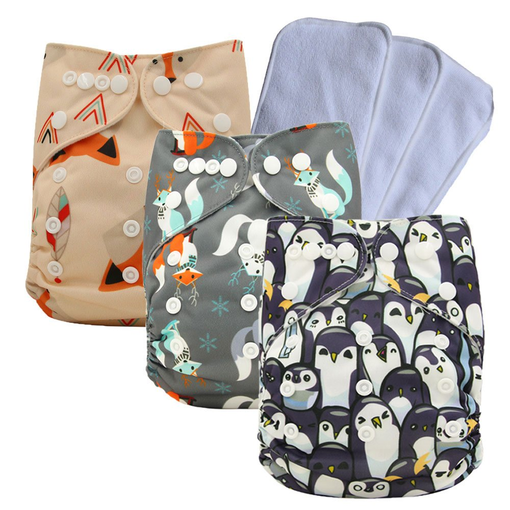 Reusable Pocket Cloth Diapers Washable Adjustable One Size for Baby , 3PCS Inserts