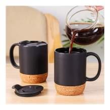 XJUNCUMU Insulated Coffee Mug Set of 2, 13OZ Travel Coffee Mugs with Cork Bottom and Anti-Splash Lid, Large-sized Ceramic Coffee Mugs for Women, Men, Black