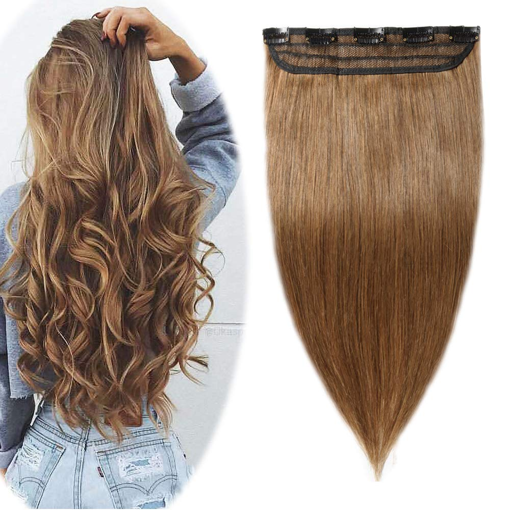 """100% Real Hair Extensions Clip in Remy Human Hair 18"""" 50g One-piece 5 Clips Long Straight Hair Extensions for Women Gift Wide Weft Soft Silky #6 Light Brown"""