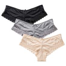 DOBREVA Women's Lace Panties Crisscross Sexy Hipster Cheeky Panty Bikini Pack of 3