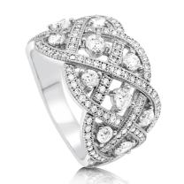 BERRICLE Rhodium Plated Sterling Silver Cubic Zirconia CZ Statement Woven Art Deco Cocktail Fashion Right Hand Ring