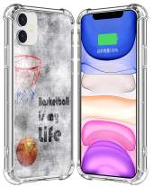 IWONE Case for iPhone 11 Basketball Rubber Durable Protective Skin Transparent Clear Cover Shockproof Compatible for iPhone 11 Creative Basketball Writings Ball is Life