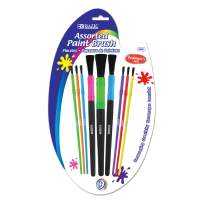 BAZIC Assorted Size Kids Watercolor Paint Brush Set, Round Detail Brushes Watercolor Acrylics Inks Gouache Oil Painting for Kid Beginners Home DIY (9/Pack) (Box of 24)