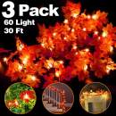 Camlinbo 3 Pack Thanksgiving Decorations Thanksgiving Decor Pumpkin Decoration Thanksgiving Lights, 30Ft/60 LED Lighted Garland Battery Garland Home Indoor Outdoor Decor Thanksgiving Decoration