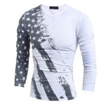 Mens American Flag Printed Long Sleeve Short Sleeve T-Shirts Pullover Hoodies Tops