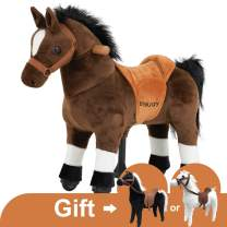 Uenjoy Riding Horse for Kids Ride on Horse Toy, Pony Rider Mechanical Walking Action Animal,No Battery or Electricity, Giddy up, for Children 3 to 5 Years, Weight Capacity 132LBS, Small Size, Brown