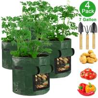 Cadeya Potato Grow Bags, (4 Pack) Garden Vegetable Planter with Access Flap and Handles,for Tomato,Carrot,Onion,Fruits and More Vegetables.Grow Bags Containers (7 Gallon + 3 Tools)