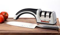 Chef'sChoice 4643 ProntoPro Diamond Hone Manual Knife Sharpener Extremely Fast Sharpening Euro-American and Asian Style Knives Precise Bevel Angle Control Diamond Abrasive Made in USA, 3-Stage, Silver