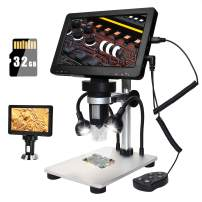7 inch LCD Digital Microscope Removable with 32G TF Card, 1200X Magnification Rechargeable Handheld 12MP Camera 1080P Video Recorder for Circuit Board Repair Soldering PCB Coin, Support Windows/Mac OS
