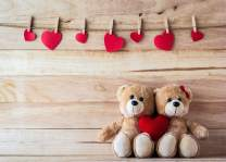 LYWYGG 7X5FT Valentine's Day Backdrop Bear Love Photo Backgrounds Wooden Wall Photography Backdrops for Child CP-129