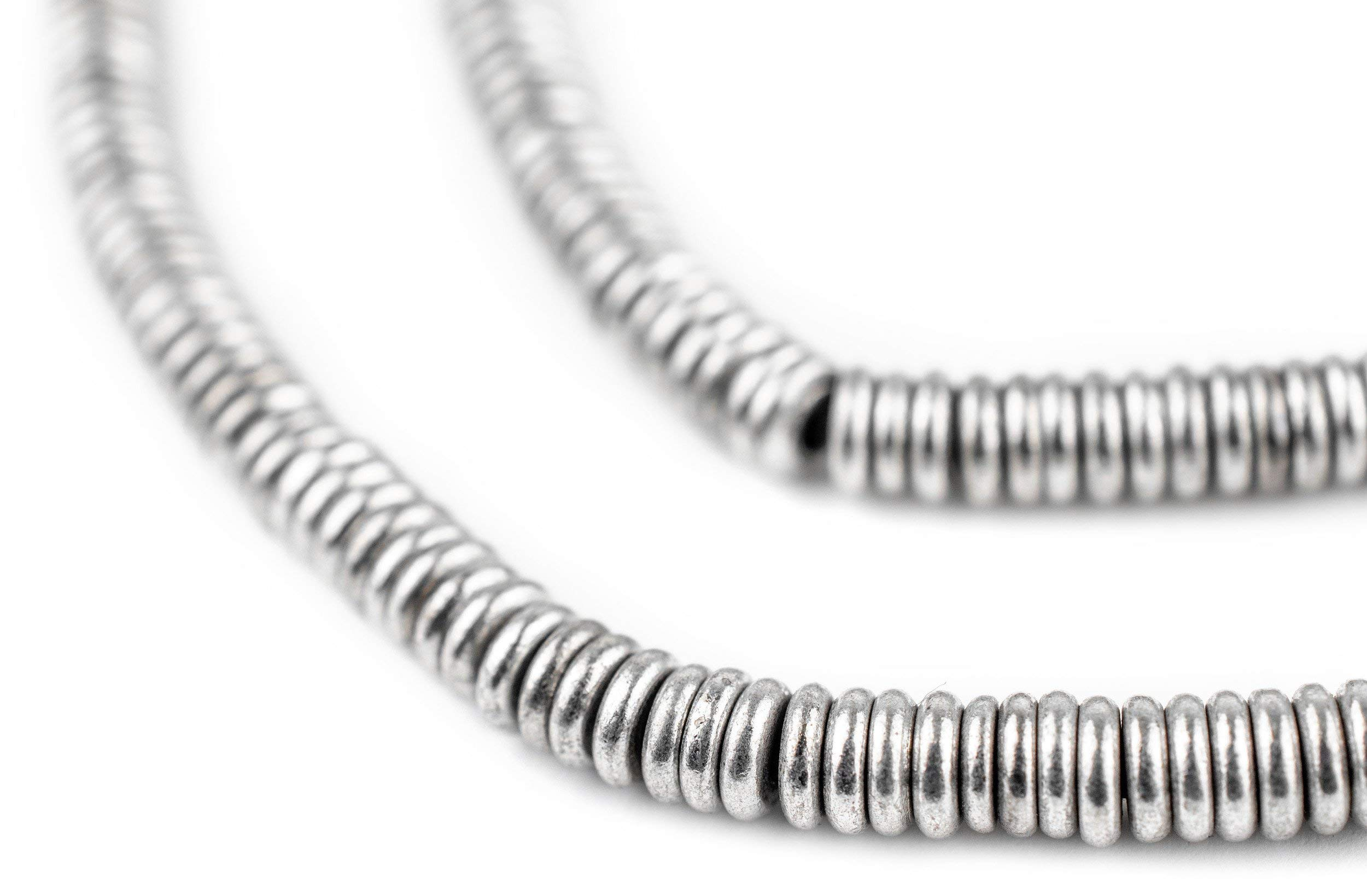 TheBeadChest Smooth Silver Heishi Beads 5mm White Metal Large Hole 16 Inch Strand