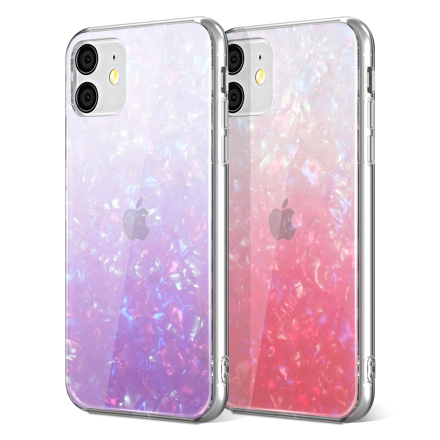 EYZUTAK 2 Pack Glitter Case for iPhone 11 Pro Max 6.5 inch, Slim Soft TPU Silicone Shockproof Protective Cover Shining Fashion Marble Shell Style - Pink & Purple