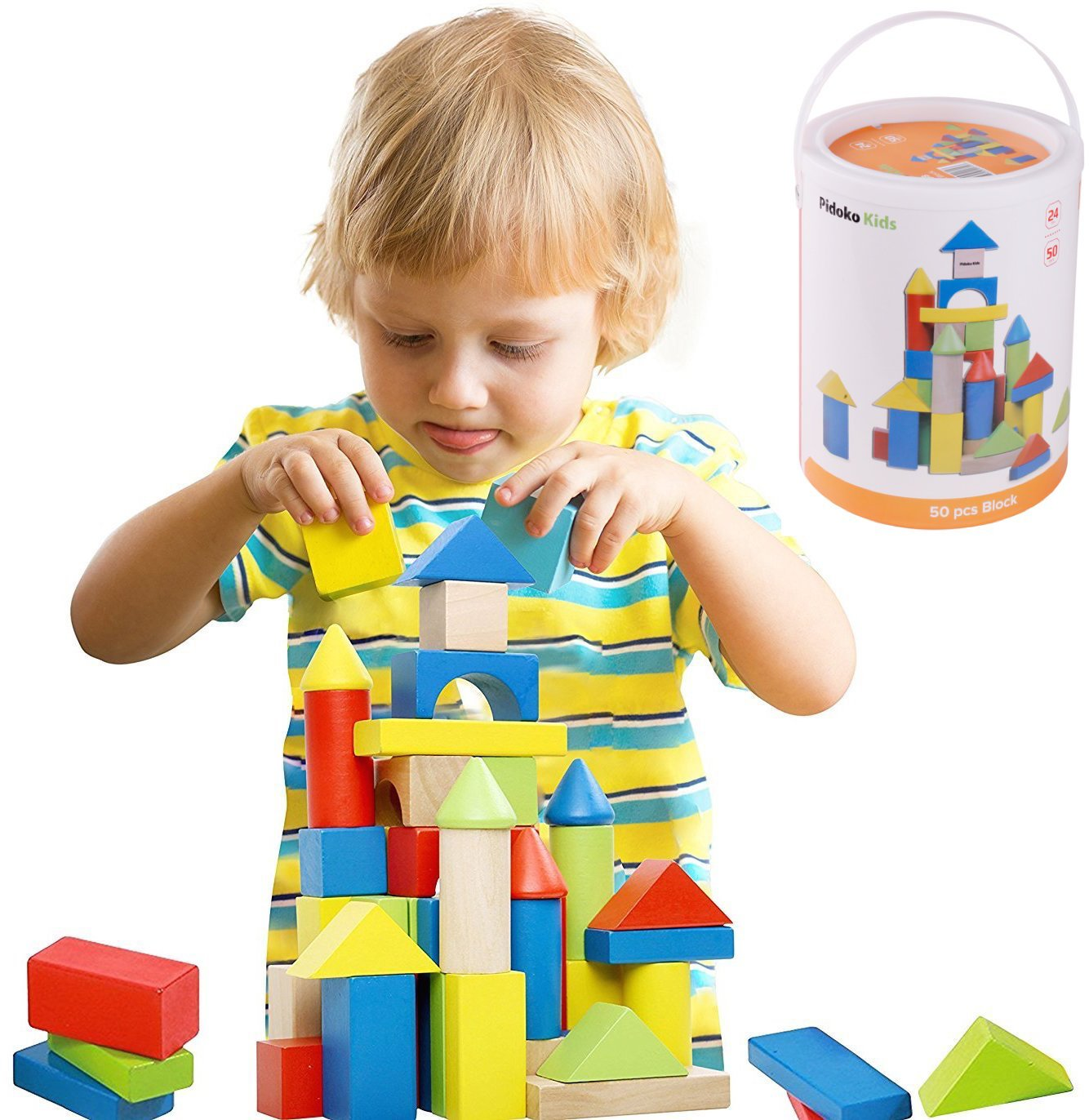 Deluxe 50 Piece Hand-Crafted Wooden Building Blocks Set with Carrying Container - Hardwood Plain & Colored Wood Playing Toy Blocks for Boys & Girls - Durable Stacking Blocks for Toddlers Preschool age