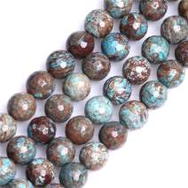 """GEM-Inside 10mm Round Dyed Blue Crazy Lace Agate Faceted Gemstone Loose Beads Energy Stone Power Beads for Jewelry Making 15"""""""