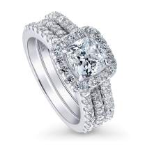 BERRICLE Rhodium Plated Sterling Silver Cushion Cut Cubic Zirconia CZ Halo Engagement Wedding Insert Ring Set 2.62 CTW