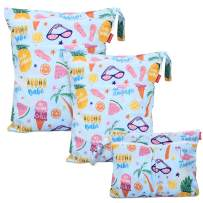 Damero 3Pcs Wet Dry Bag with 2 Zippered Pockets and Snap Handle for Cloth Diaper, Swimsuit, Clothes, Ideal for Travel, Exercise, Daycare, Roomy and Water-Resistant (Summer Style)