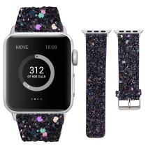 Moonooda Compatible with iWatch Bands 38mm 40mm 42mm 44mm, Women Wristband Replacement for iWatch, Bling Glitter Strap Compatible with Series 5 4 3 2 1, Black
