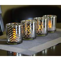 """Seraphic Glass Votive Candle Holders, 2.75"""" Tall, Silver, Set of 12"""