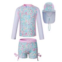 Vivobiniya Kids Girl Rashguard Swimsuit with Sun Hats UPF 50+uv Long Sleeve