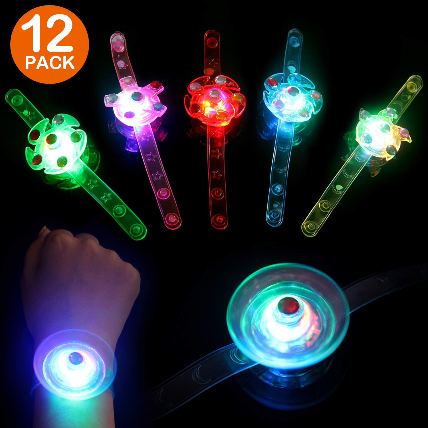 Satkago 12 Pcs Light Up Bracelets Glow Toys Easter Basket Stuffers Gifts Birthday Party Favors for Kids Glow in The Dark Toys