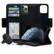 Navor Universal Car Mount & Detachable Magnetic Wallet Case with RFID Protection Compatible for iPhone 11 Pro Max [6.5 inch] [Vajio Series] - Black [IP11PMXVJKTBK]