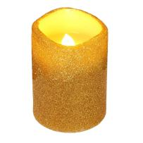 Christmas Flamless Led Candle with Timer, Battery Operated Pillar Candle for Tabletop and Parties Decoration (Gold-3x4inches)