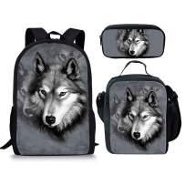 chaqlin Wolf Animal Lunch Bag Pencil Bag Casual Backpack School Bag Travel Daypack Bookbags for Boys Girls Kids 3Pcs