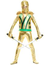 Charades Golden Ninja Series III with Armor Child's Costume, Gold, Small