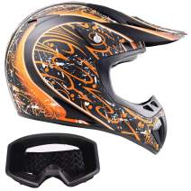 Typhoon Adult ATV Helmet & Goggles Gear Combo, Matte Orange w/Black (XXL)