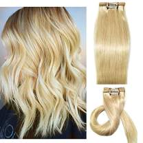 "120g Blonde Clip in Human Hair Extensions Real Hair Extensions for Women Silky Straight Double Weft Brazilian Virgin Hair Fashion Summer Hairstyles for Party #613 Bleach Blonde(16""/18""/20""/22"")20inch"
