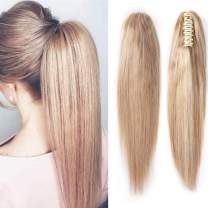 100% Remy Human Hair Ponytail Extension One Piece Claw/Jaw Clip Ponytail Hairpiece Clip In Pony Tail Extensions For Girl Lady Women Long Straight #12P613 Golden Brown&Bleach Blonde 16'' 105g