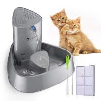 isYoung Cat Fountain LED Pet Water Fountain Ultra Quiet Automatic Pet Water Dispenser with Adjustable Water Flow and Activated Carbon Filter for Dogs, Cats, Birds and Small Animals (Grey)