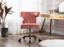 Velvet Home Office Desk Chair, Swivel Accent Chair with Adjustable Height, Modern Rolling Task Chair for Office, Home, Living Room and Bedroom(Pink)
