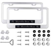 2pcs License Plate Frames for Mercedez-Benz - 2 Holes Premium Chrome Silver Aluminum Alloy Metal Mercedez Benz Logo License Plate Cover Holder Compatible All Vehicle License Plate Tag Cover