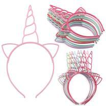 XIMA 12pcs Unicorn Girls Headbands Children Plastic Hairbands Headwear Hair Accessory for Party Decorations(Spring color-Unicorn)