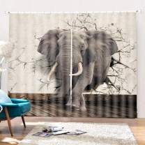 "SK Studio Printing Decor Curtain, 3D Window Curtains Blackout for Living Room Bedroom, 2 Panels Set Elephant Piercing The Wall 197"" W by 84"" L"