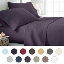 ienjoy Home Hotel Collection Luxury Soft Brushed Bed Sheet Set, Hypoallergenic, Deep Pocket, Twin, Purple