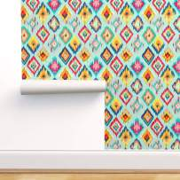 Spoonflower Pre-Pasted Removable Wallpaper, Ikat Colorful Boho Bohemian Modern Hand Painted Painting Print, Water-Activated Wallpaper, 24in x 144in Roll
