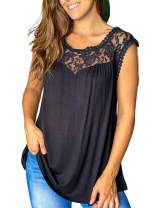 BLENCOT Womens Crewneck Lace Tunic Tank Tops Embroidery Loose Flowy Sleeveless Blouses Shirts