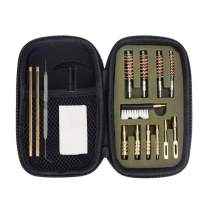 GLORYFIRE Gun Cleaning Kit Handgun Cleaning Kit Pistol Cleaning Kit .22.357/9mm.40.45 Caliber Brass Jags Tips and 2 Empty Bottles with Zippered Compact Case for Hunting Shooting