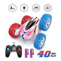 DEERC RC Cars Stunt Cars Remote Control Car Toys, 4WD Off Road Dual Color Headlights Double Sided Rotating 360° Flips Vehicles, 2 Rechargeable Batteries for 40 Min Play, Toys Gifts for Kids Boys Girls