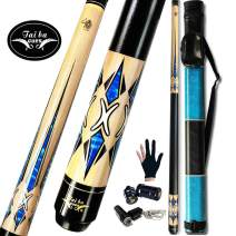 """Tai BA Cues 2-Piece Pool cue Stick + Hard Case, 13mm Tip, 58"""", Hardwood Canadian Maple Professional Billiard Pool Cue Stick 18,19,20,21 Oz (Selectable)-Blue, Black, Red, Gray, Green, Brown"""