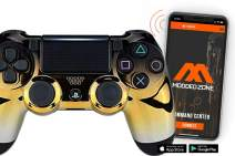 Smart PS4 PRO Rapid Fire Custom MODDED Controller Exclusive Unique Designs - CUH-ZCT2U… (Multiple Designs Available) (Chrome Gradient Black Gold Silver)