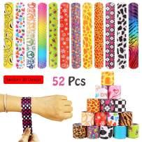 VCOSTORE 52 Pcs Slap Bracelets Party Favors Pack with Diverse Pattern, Emoji, Animals, Heart Print Design, Retro Slap Wrist Bands for Kids Teens Adults Christmas Toys Prize Halloween