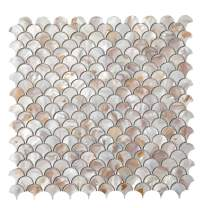 Diflart Oyster Mother of Pearl Shell Mosaic Tiles for Kitchen Backsplashes Bathroom Walls Spa Pool Tile, 10 Sheets/Box (Fan, Dark Colorful Oyster)